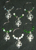 Set Of 6 Crystal Silver 4 Leaf Clover Wine Glass Charms Markers Shamrock Patty