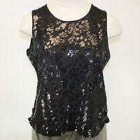 Berek Plus Size Daytime Shine Black Sequin Sleeveless Shell Blouse 3x