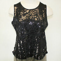 Berek Plus Size Daytime Shine Black Sequin Sleeveless Shell Blouse 3x