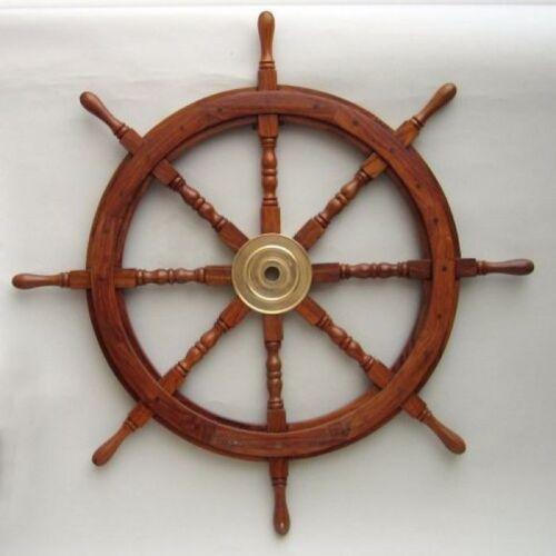 "30/"" Wooden Ship Wheel Brass Hub Nautical Boat Pirate Wall Decor"