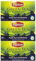 Lipton Green Tea Bags, Superfruit, Purple Acai & Blueberry, 20 Ct, 3 Pk, New, Fr on sale