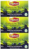 Lipton Green Tea Bags, Superfruit, Purple Acai & Blueberry, 20 Ct, 3 Pk, New, Fr on sale