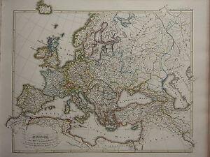1846 Spruner Antique Historical Map Europe 16th Century