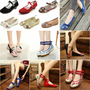 Womens-Chinese-Embroidered-Flower-Flat-Shoes-Casual-Comfy-Mary-Jane-Ballet-Pump