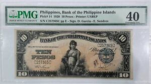1920 Bank of the Philippine Islands TEN PESOS United States Banknote PMG EF40