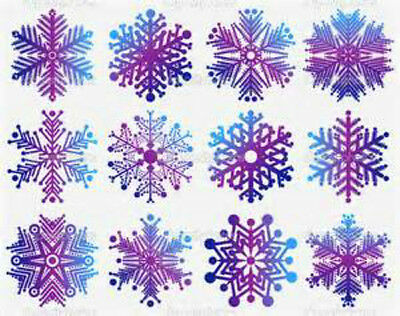 48  WATER SLIDE NAIL ART DECALS /TRANSFERS DIFFERENT PURPLE CHRISTMAS SNOWFLAKES