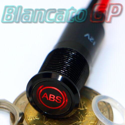 SPIA LED 12mm CON SIMBOLO ABS ROSSO 12V ALLUMINIO NERO car indicator light lamp