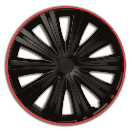 """4 x tapacubos giga R 14/"""" pulgadas Black red para todos los automóviles para pulgadas 14 excepto bus"""