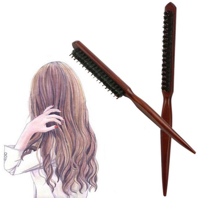 HOT Wood Handle Natural Boar Bristle Hair Brush Fluffy Comb Hairdressing Barber