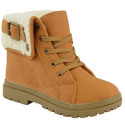 Ladies Ankle Boots Shoes Womens Flat Winter Snow Grip Sole Walking Biker Size
