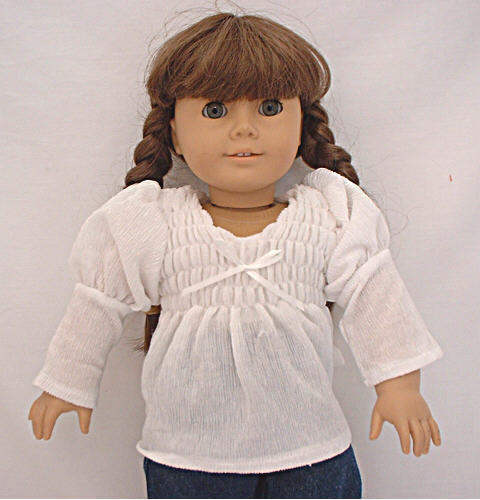 "White Long Sleeve Peasant Top Fits 18/"" American Girl  Dolls"