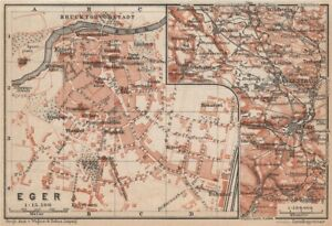 Eger Vintage Town City Plan Erlau Jagier Jager Hungary Terkep
