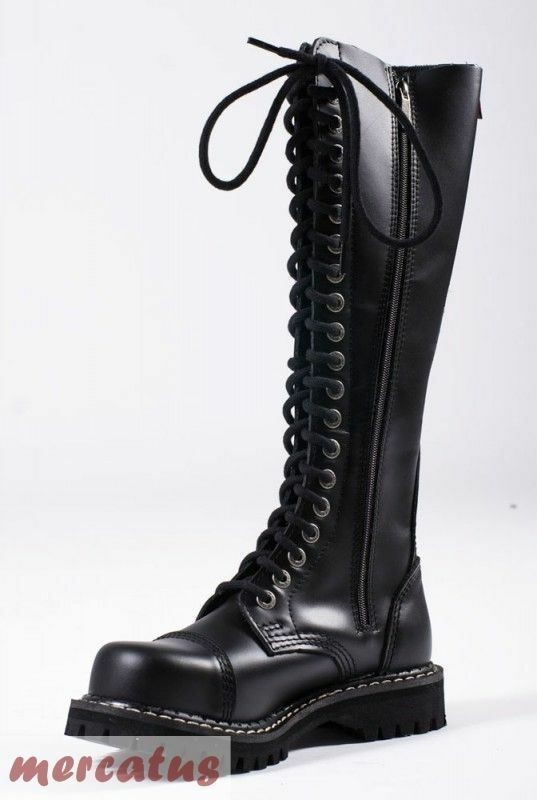 ANGRY ITCH - 20-Loch Gothic Punk Army Ranger Armee Leder Stiefel mit Stahlkappe