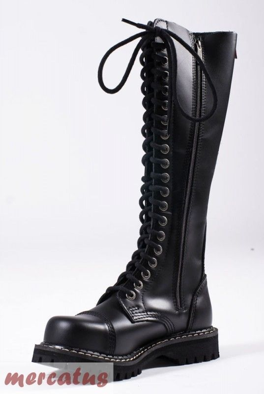 ANGRY ITCH - 20-Loch Gothic Punk Army Ranger Armee Armee Ranger Leder Stiefel mit Stahlkappe 7b8cbc