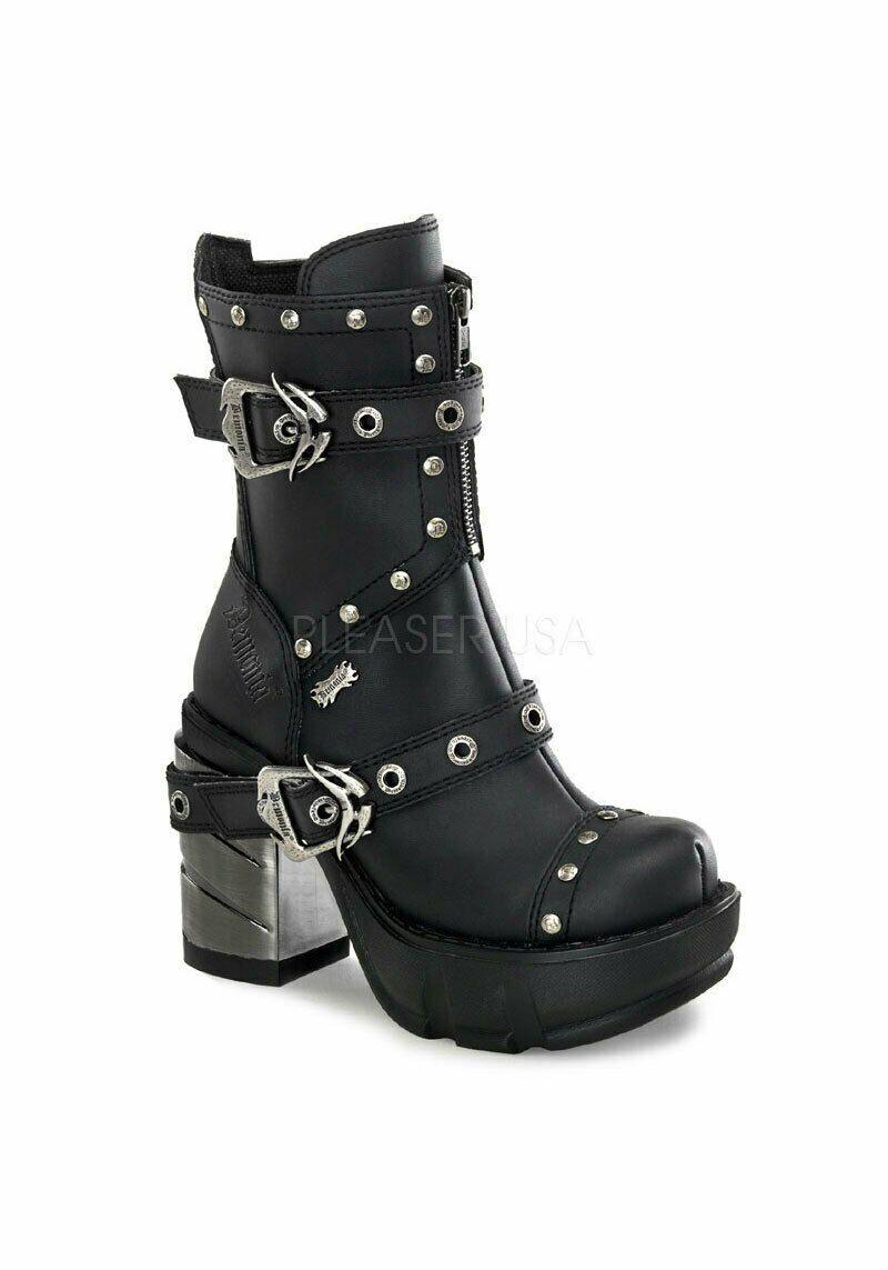 Demonia SINISTER-201 3 1 2'' Chromed ABS Heel, 1 1 2'' Moulded Pu Platform Boot