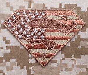 6c280a57e614 SUPERMAN AMERICAN FLAG TACTICAL OP ISAF USA MILITARY DESERT VELCRO ...