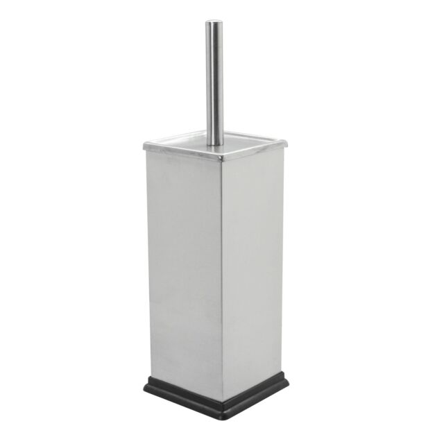Grey Steel x2 Bathroom Toilet Brush /& Standing Holder Cleaning Set