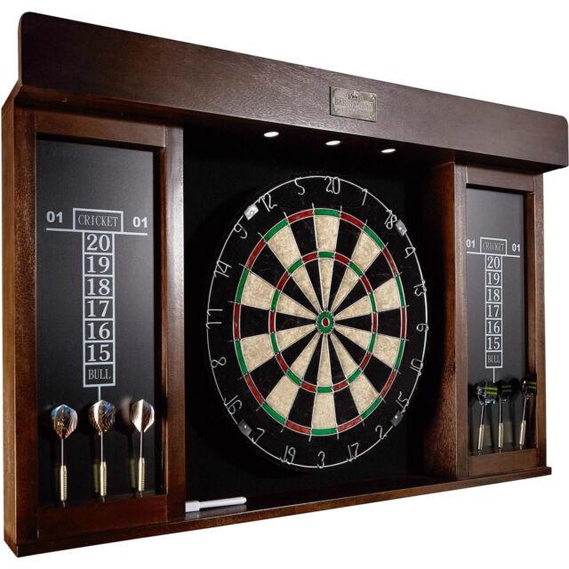 Barrington 40 Inch Dartboard Cabinet LED Light W/ 6 Darts, Marker Eraser    NEW