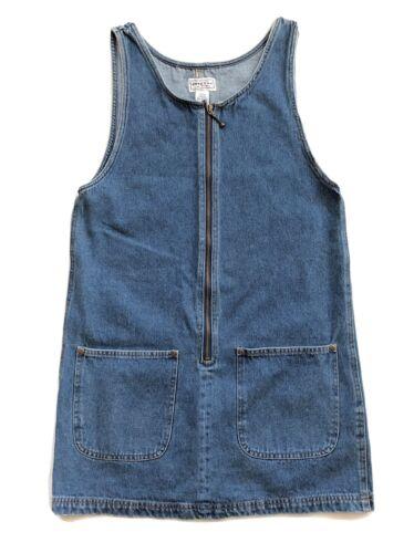 Vtg Arizona Denim Jumper Dress Womens Size S Apro… - image 1