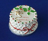 Dolls House Miniature Food - Round Christmas Cake