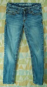 Distressed-LOW-Skinny-Leg-STICHED-Pocket-Worn-AEROPOSTALE-Ankle-Jeans-00