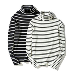 Mens Fashion Striped Turtleneck Sweater Long Sleeve Casual Pullover Tops Shirts