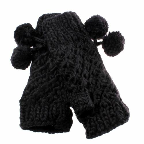 Ladies Black Supersoft Knitted Fashion Gloves with Bobbles