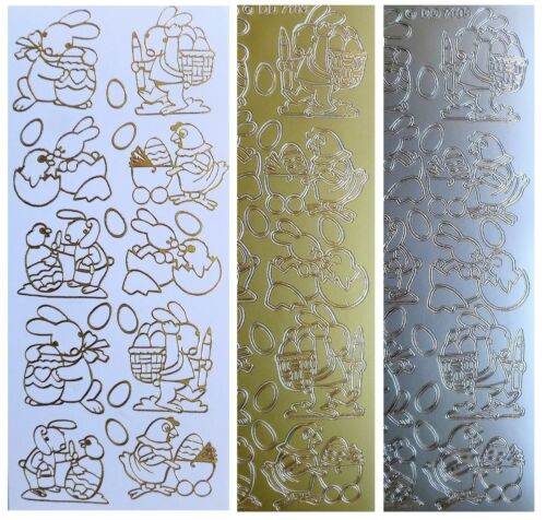 EASTER RABBITS Peel Off Stickers Eggs Hen Baskets Card Making Gold or Silver