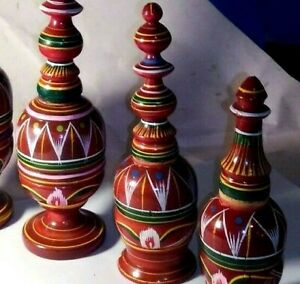 Folk Art - lathe-turned hand painted boxes and jars from Benares, India