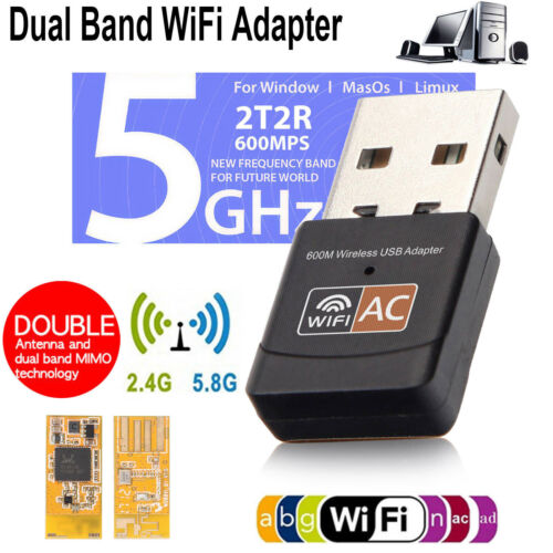 Dual Band 600Mbps Wireless 2.4//5.8GHz USB WLAN WIFI Dongle Adapter Dual Antenna