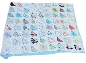 Vintage-Hand-Sewn-Butterfly-Blocks-Baby-Crib-Quilt-Blanket-SALVAGE-REPAIR