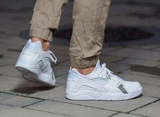 Mens Nike Air Huarache Flight Low Sneakers New, White Ostrich 819847-100 sku AA