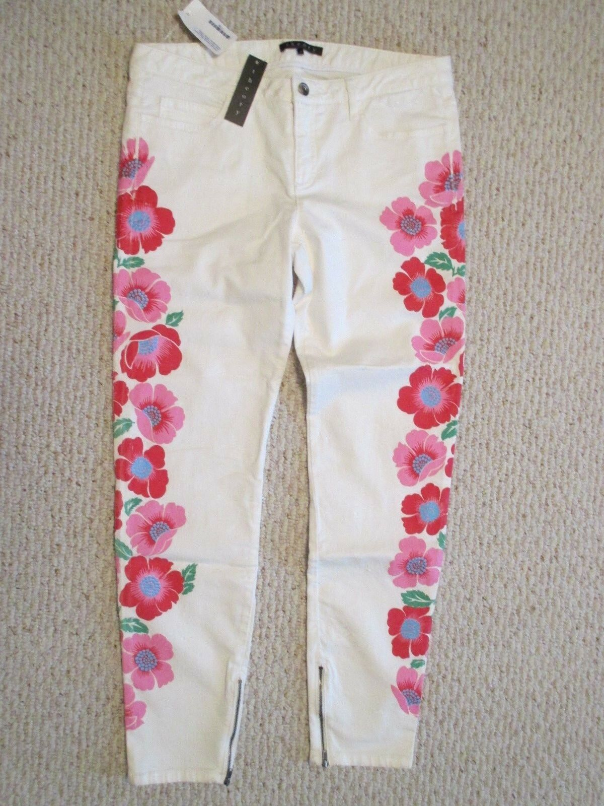 Theory Nakisha Floral Maui Jeans Pants Size 8 NWT  Zip Ankle