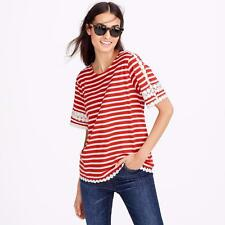 NWT J CREW red white Lace embroidered top in stripe TOP Wmn XS