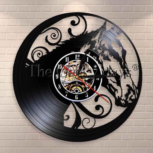 Horse Head Design Vinyl Record Wall Clock ilhouette Interior Modern Wall Decor
