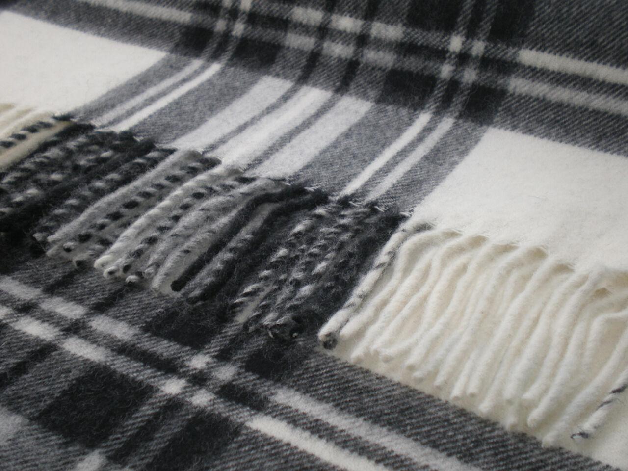 100% pure lambswool tartan Bronte sofa throw rug blanket - DRESS GREY STEWART