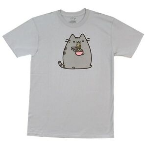 Pusheen-The-Cat-Eating-Noodles-Cute-Facebook-Licensed-Adult-T-Shirt