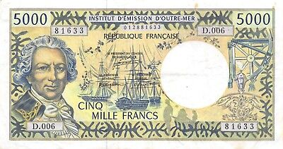 Australia & Oceania South Pacific Nd.1996 P 3a Series D Circulated Banknote G7 French Pacific Territories 5000 F