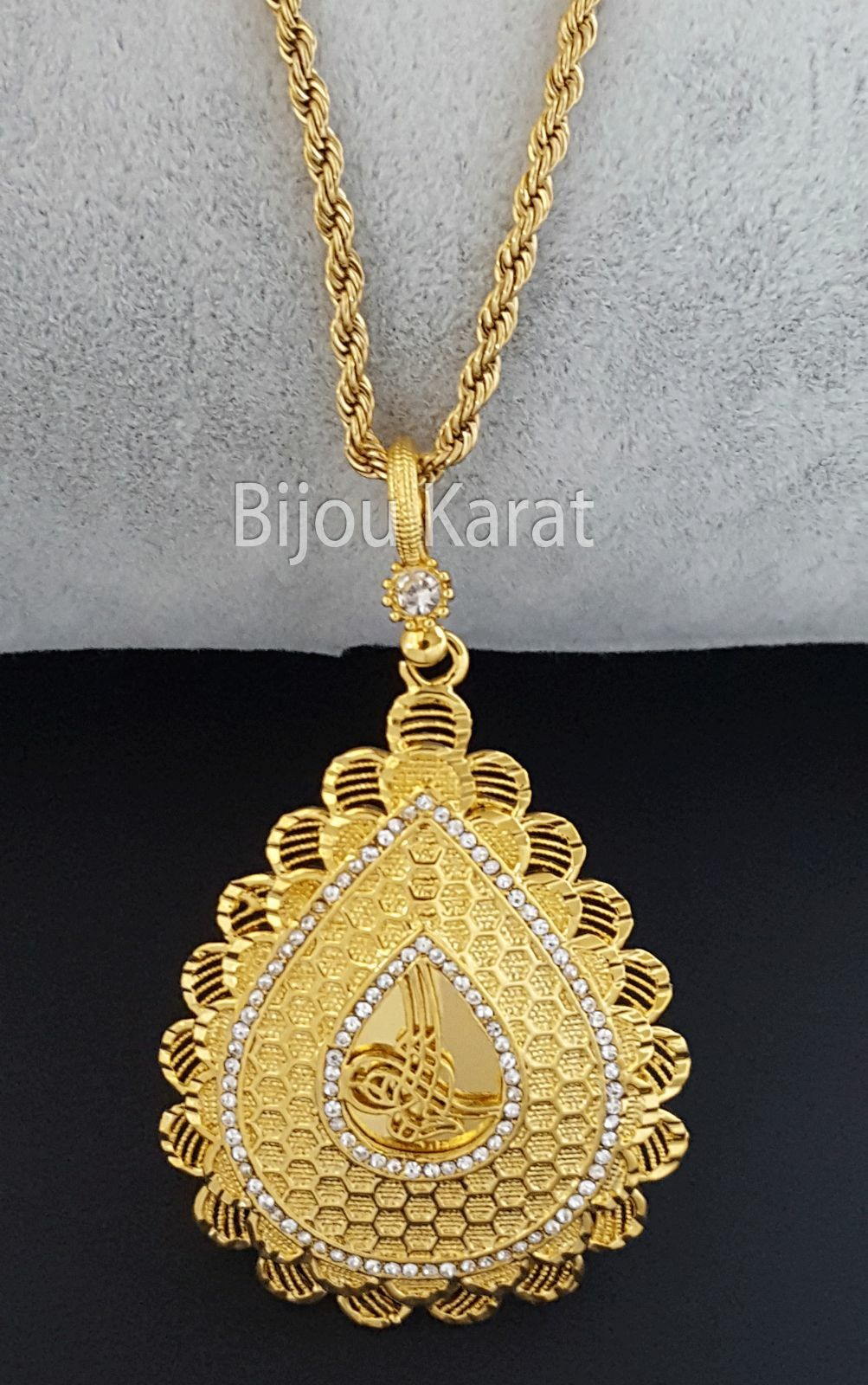 Osmanli Tugra ALTINI kolye ceyrek 24 CARATI GP Altin zincir COLLANA IN gold TAKI