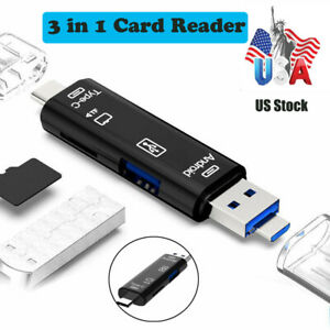 Multi Function Type-C Micro USB OTG SD/TF Memory Card Reader Adapter Extender US