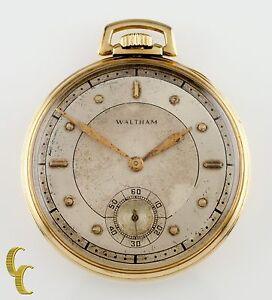 Waltham-Colonial-R-Ouvert-Visage-14k-or-Jaune-Vintage-Poche-Montre-Taille-12