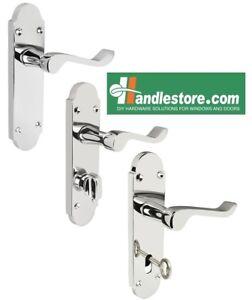Shaped-Scroll-Polished-Chrome-Door-Handle-Sets-Latch-Bathroom-Lever-lock-168x42