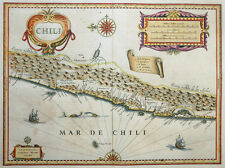 CHILE CHILI SIERRA NEVADA DE LOS ANDES ANDEN SÜDAMERIKA KARTE BLAEU SCHIFFE 1640