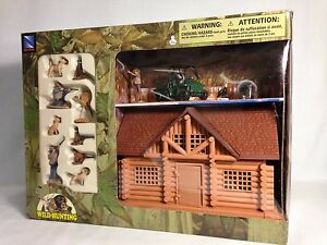 Wild Bird Hunting Playset, With Hunters, Cabin, ATV, Birds, Dogs, New Ray Toy BR