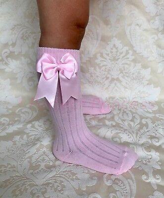 Spanish Romany Baby Girls Socks Double Bow Knee High School Uniform Gift UK