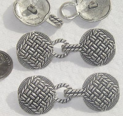IMPRESSIVE Set 3 New Vintage Antiqued Silver Metal CLASPS Buttons Hooks XLARGE