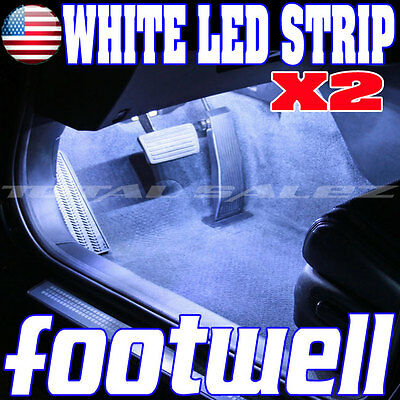 2X NEW WHITE LED FOOTWELL INTERIOR LED STRIP 2X12 UNDERDASH BULBS SMD  Z1 W4