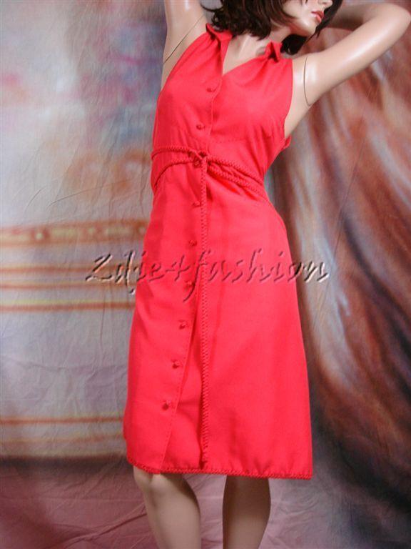 4000 New CHADO RALPH RUCCI Red Raw Silk Braided Rope Belt Hand Stitch Dress 10