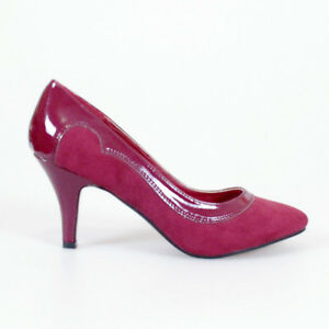 6ed65aec957 WOMAN SHOES CLASSIC PATENT SUEDE BURGUNDY RED MID HEELS EVENING ...