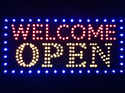 US Ultra Bright LED Open Sign Neon Light Animated Motion Flash Business Ad Board